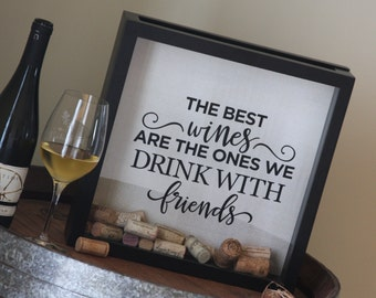 Wine Cork Holder Shadow Box: Wine Corks, Wine, Gifts, Guest Book, Shadowbox