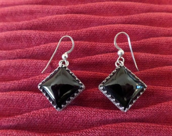 REDUCED DTR Jay King Silver and Onyx Drop Earrings