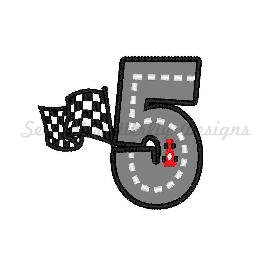 Car On Race Track Number 5 Applique Perfect By