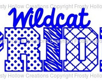 Wildcat Pride cutting file SVG instant download PERSONAL USE only!