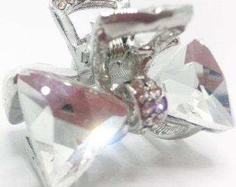 New Small Silver Clear  CZ Crystal & Rhinestone 1  1/2'' Hair Claw Clip