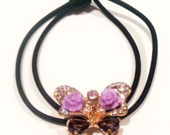 New Amethyst CZ Crystal  Butterfly Ponytail Tie