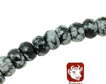 8x5 Faceted Abacus Snowflake Obsidian Beads, Abacus Obsidian, Obsidian, Obsidian Beads, Abacus Snowflake Obsidian, Snowflake Obsidian
