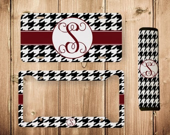 houndstooth license frame houndstooth license plate monogram license plate frame monogram license plate - Monogram License Plate Frame