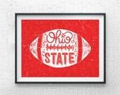 Ohio State Art Print / Ohio State Football Poster / Ohio State Buckeyes Wall Art/ Red,Grunge