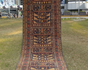 Semi Antique Famous Ali Khowaja Fine Quality Nomadic Runner