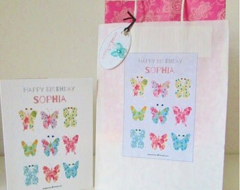 Personalised Birthday Gift Bag - Floral Butterfly