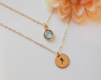 Initial and Birthstone Necklace • Letter Necklace • Personalized • Layered Hand-Stamped Disc • Gift for Her [CUD9] [1719-202 L]