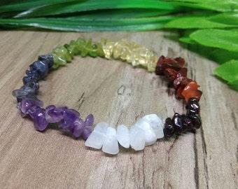 One (1) 7 Chakra Chips Bracelets, for Chakra Balancing, Crystal Healing, Stone Chip Bracelet