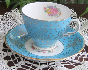 Free Shipping Colclough 1534 Turquois Bone China Tea Cup and Saucer
