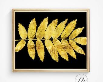Gold foil print, gold leaf print, leaves print, black and gold, gold leaf, modern print, gold foil, digital print, gold wall prints, gold