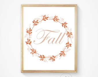 Fall print, Autumn leaves, Autumn wall art, Fall wall decor, Fall sign, Fall printable, Fall decor, Autumn printable, fall download,