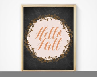 Fall art, printable art, hello fall print, autumn print, fall prints, fall chalkboard print, printable fall wall art, fall decor, autumn art