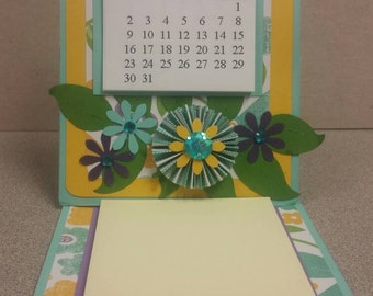 Desk calendar - aqua & yellow