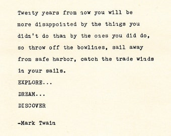 THE MARK TWAIN -  Quote Made On Typewriter,Typewriter Quote, Famous Quotes, Inspirational Quotes