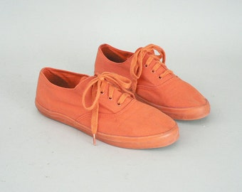 Womes Orange Canvas Sneakers Size 7