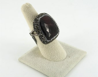 Sterling Silver, Quartz, and Crystal Statement Ring