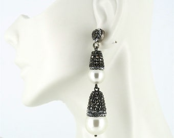 Sterling Silver, Pearl, and Crystal Dangle Earrings