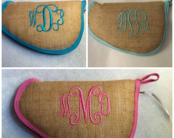 Burlap pistol case - Monogrammed Gun Case - Personalized gun case - Other Trim colors available!