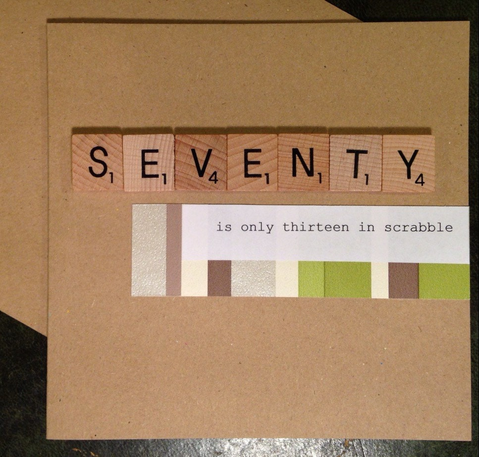 70th Birthday Card Scrabble Handmade Seventy is only – Handmade 70th Birthday Cards