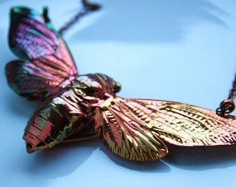 Giant cicada insect copper necklace multicolour, Copperplated / giant Zikdde pendant chain insect copper plated Kupfrer beetle