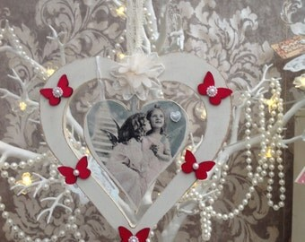 Hanging heart within heart vintage design