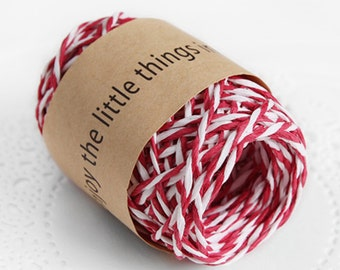 11 yd x Paper string / Red & White twine String / twist string / paper cord ribbon / paper twine / gift wrap