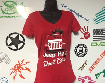 Jeep Hair Don't Care! Womens V neck T-Shirt