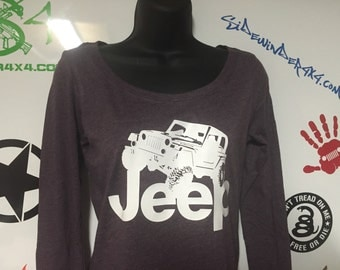 Jeep Wrangler TJ Women's Tri-blend Long Sleeve Scoop T-Shirt