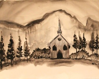 Black and white Church water color painting