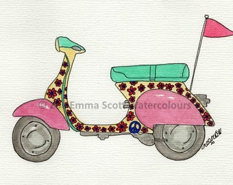 Flower Power Scooter Print - by Zoe Emma Scott