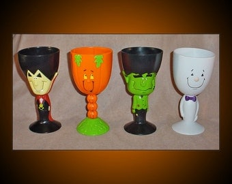 4 Halloween Goblets Plastic Figural Chalices 1990s