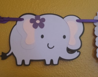 Elephant Welcome baby Banner, It's A Girl Banner, Baby Shower Banner, Girl Baby Shower, Elephant Baby Shower,