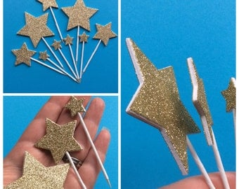 Celebrations gold glitter stars cake toppers - cake decorations - 50th wedding anniversary - gold wedding topper - star cake topper set of 9