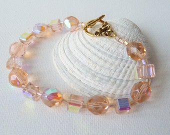 SALE, Topaz Pink Czech Crystal Gold Bracelet Vintage Handmade Beaded Bracelet, Topaz Shimmering Bracelet,Pretty Simple Crystal Bracelet