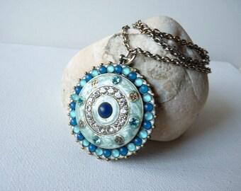 SALE,Vintage Big Round Silver Tone Blue Rhinestone Medallion Chain Necklace,Circle Boho Round Necklace, Shield Boho Pendant, Denmark Jewelry