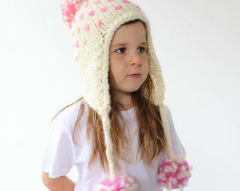Knitted Earflap Hat Pattern - PDF Knitting Pattern, Super Bulky/chunky Fair isle Pom pom Hat, baby/toddler, child & adult sizes