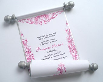 Fairytale Princess invitation scroll, birthday invitations for girls, pink and silver, set of 10 SALE