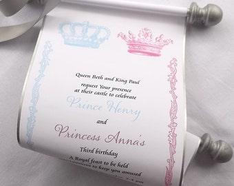 Twins Royal Birthday Party Invitation Scroll, Prince and Princess Twins Party, Royal Crown Invitation, set of 15
