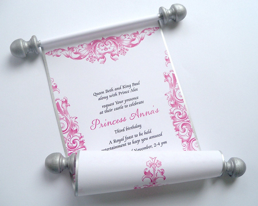 Princess Birthday Invitation Pink and Silver Fairytale – Princess Scroll Birthday Invitations