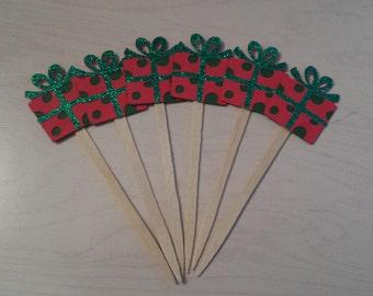 Mini Christmas Gift Cupcake Topper - Christmas toppers - Christmas cupcake toppers - Holiday Party - set of 12