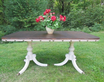 CUSTOM PIECE***Dining table/kitchen table, Shabby chic dining table,Cottage chic dining table, vintage, walnut top