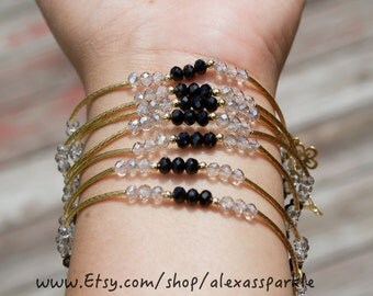 Black and Clear Beaded Charm Bracelet Set with gold plated charms- Semanario pulseras de piedritas negro y cristal con dijes de chapa de oro