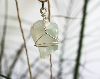 Fluorite Crystal Wire Wrapped Pendant Hemp Chain Necklace
