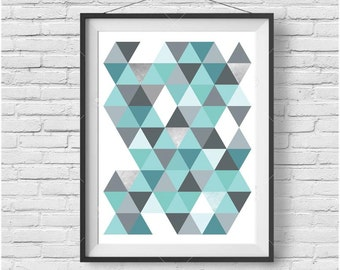 Turquoise Print Turquoise Art Turquoise Poster Geometric Print Geometric Art Triangle Print Scandinavian Print Scandinavian Home Decor