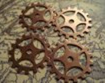 Antique brass large gears 12 pc