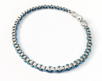 White Plated Brass, Silver Box Chain Bracelet - Periwinkle Blue