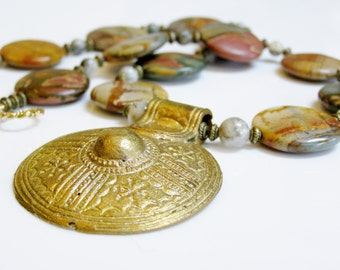 Earthtone Necklace with Red Creek Jasper, Crazy Lace Agate, and Recycled Brass Pendant with 14K Gold Fill, Earthy Stone / Gemstone