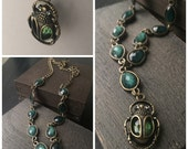Scarab Beetle Necklace - Egyptian Jewelry - Green Necklace