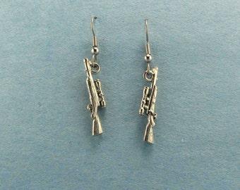 Rifle Charm Earrings - Gun Jewelry - Rifle Earrings - Rifle Charm - Rifle Earrings - Rifle Shooter -  Hunter Jewelry - Shooting Gift Award